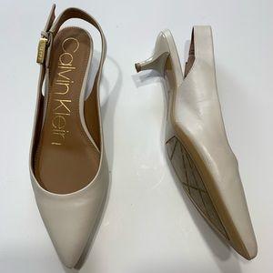 Calvin Klein 6 cream sling back buckle pumps